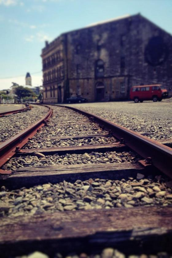 48-365Rail tracks Oamaru, New Zealand.