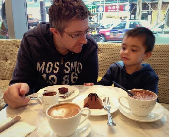 Getting our chocolate and caffeine fix on Easter Sunday.